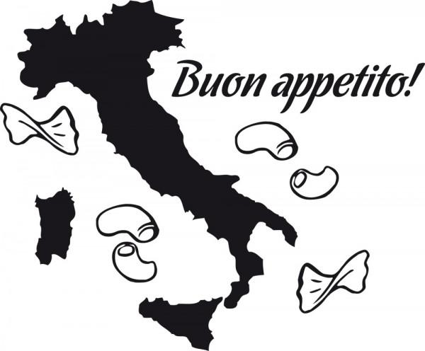 Wandtattoo Küche Schriftzug Buon appetito Italienkarte mit Nudeln