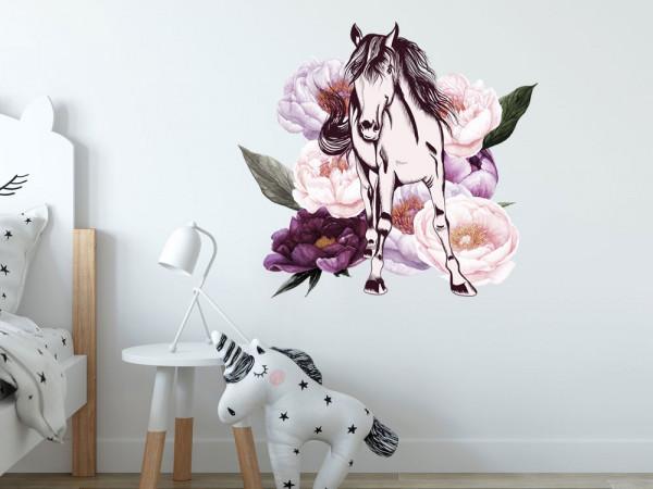 Wandtattoo Pferd mit Blumen - Pfingstblumen