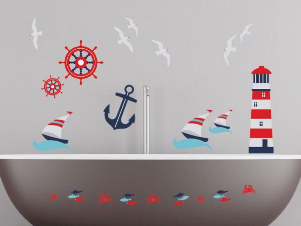 Wandsticker Set Badezimmer Maritim Leuchtturm Anker Schiffe