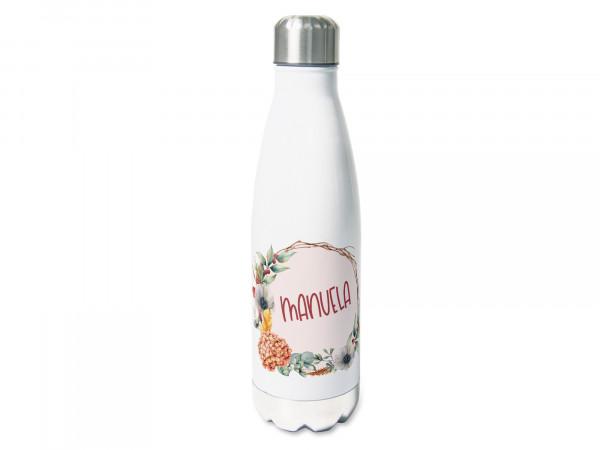 Thermosflasche mit Namen personalisiert, Blumenkranz