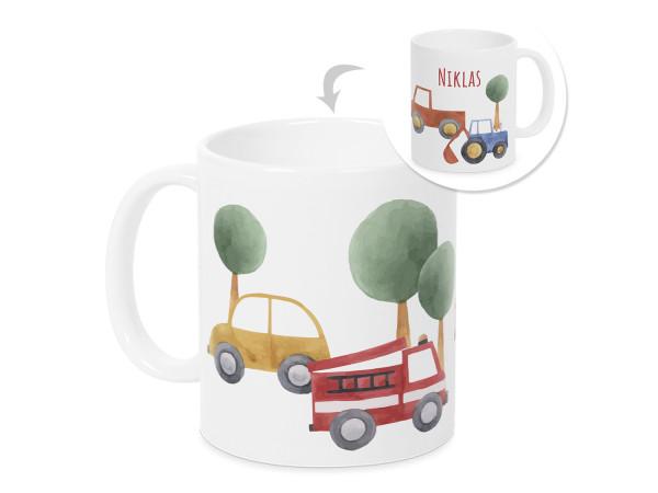 Tasse mit Namen Kinder, personalisiertes Geschenk Weihnachten Geburtstag, als Geschenkidee, Becher, Autos und Feuerwehr