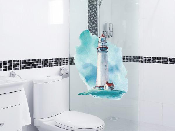 Fensteraufkleber Leuchtturm maritim, Fensterbild Bad, Glas Aufkleber für Dusche