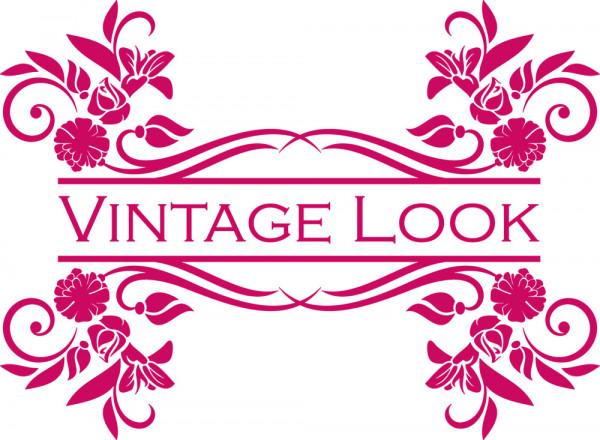 Wandtattoo Retro Vintage Look mit Ornamenten Label