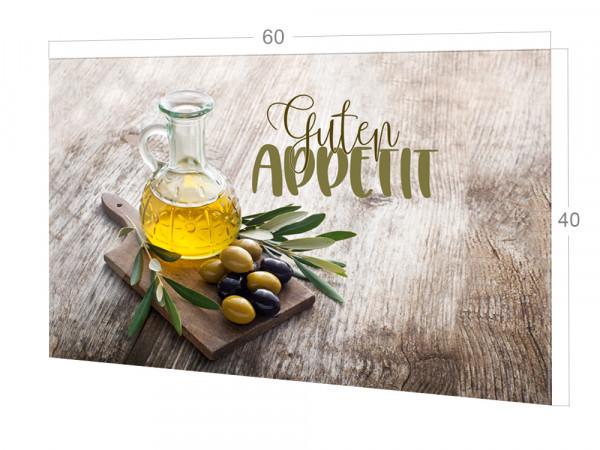 Spritzschutz Küche Glas Guten Appetit mit Olivenzweig braun