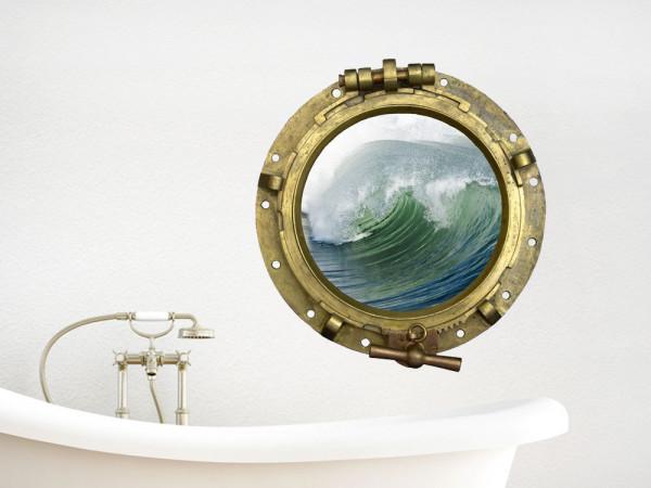 Wandsticker Wandtattoo Wandaufkleber Bullauge Welle Meer Ozean