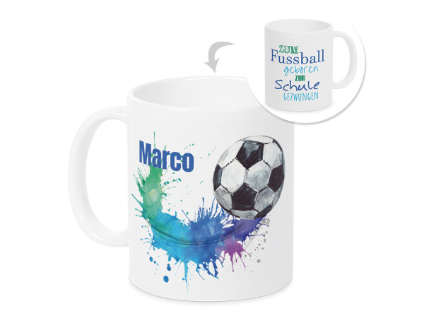 Tasse Einschulung Junge - Fußball - personalisiertes Geschenk für Schulkind
