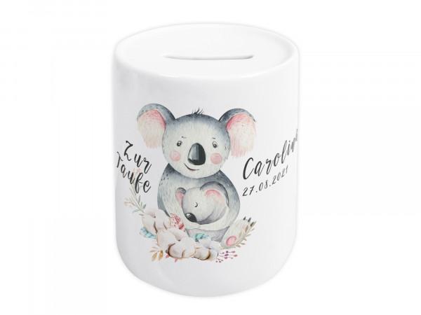 Spardose zur Taufe personalisiert - Koalabär mit Baby
