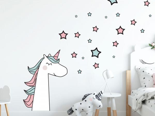 Wandtattoo Einhorn mit Sternen rosa türkis