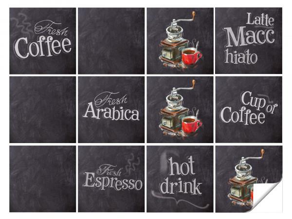 Fliesenaufkleber Küche Kaffee Motive in Grau