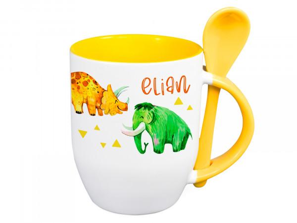 Tasse mit Löffel Name personalisiert mit Dinos