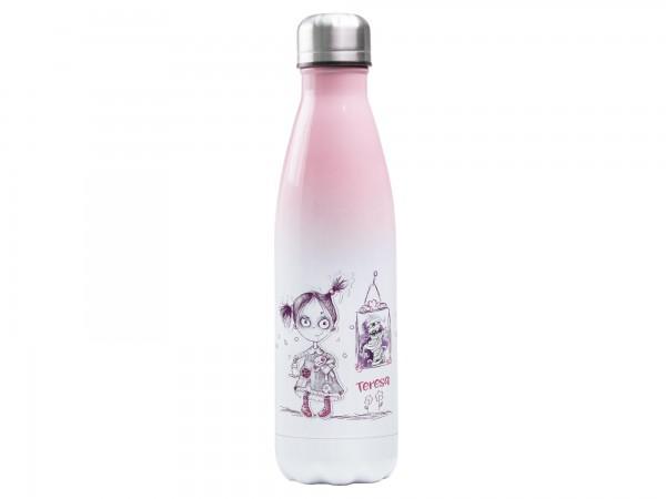 Thermosflasche rosa mit Wunschname - Halloween Mädchen