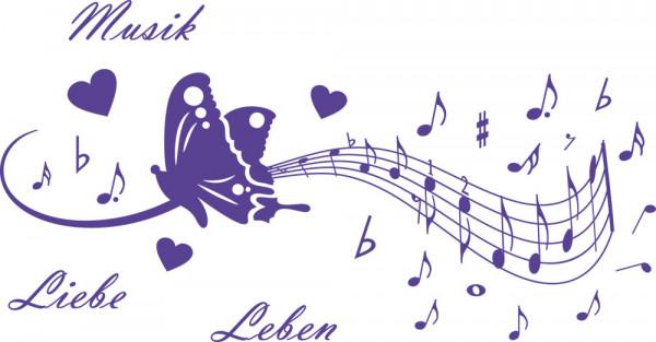 Wandtattoo Musik Liebe Leben Noten mit Herzen und Schmetterlingen