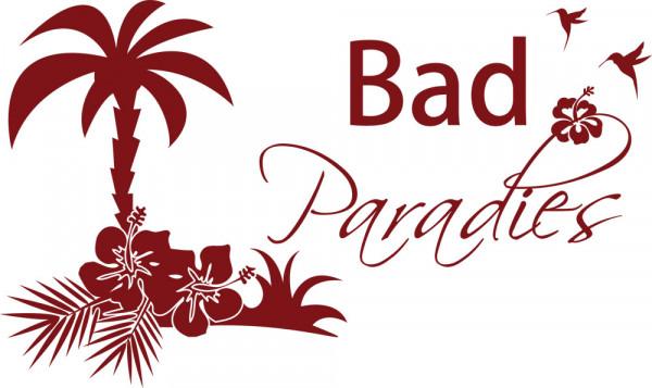 Wandtattoo Badezimmer Bad Paradies mit Palmen Blumen und Vögeln