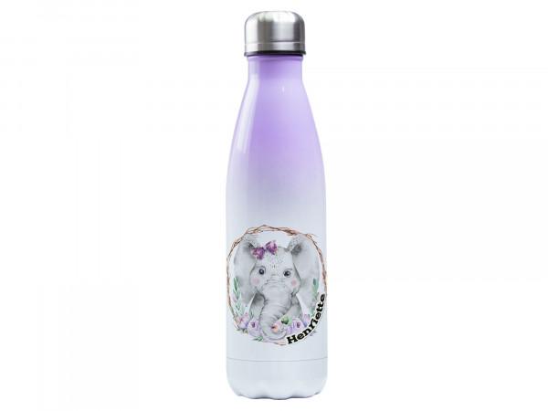 Thermosflasche lila ♥ personalisiert - Elefant