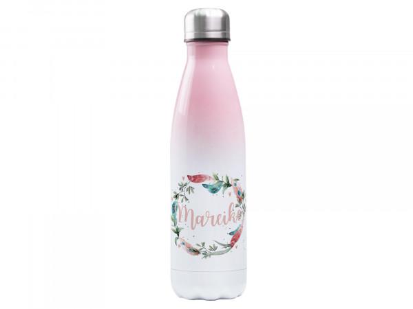 Trinkflasche rosa ♥ personalisiert - Federkranz