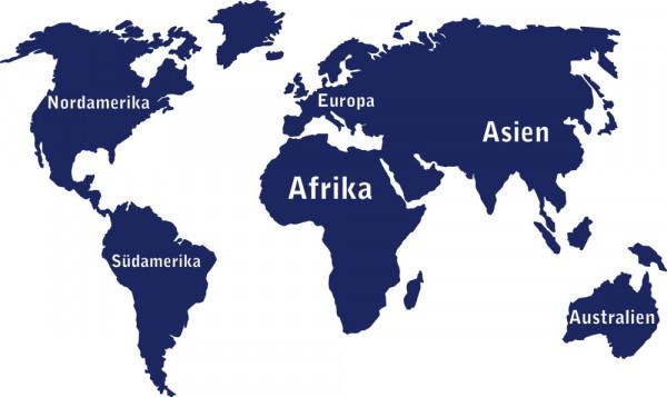 Wandtattoo Weltkarte mit Kontinent Namen