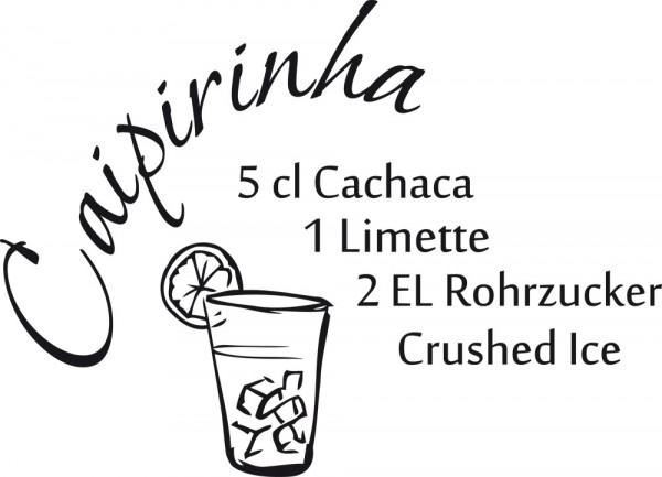 Wandtattoo Küche Rezept Caipirinha mit Cocktailglas