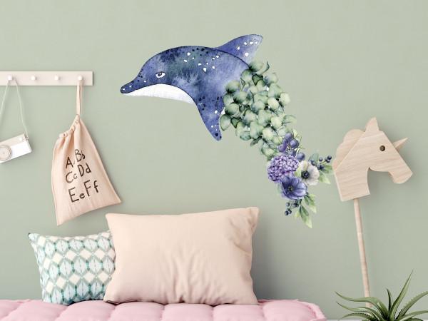 Wandtattoo Delfin mit Blumen