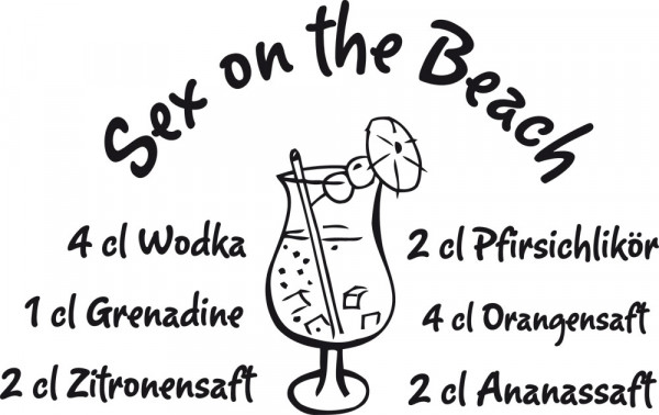 Wandtattoo Rezept Sex on the Beach Cocktail