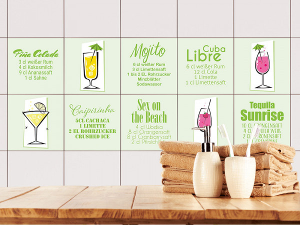 Fliesenaufkleber Set verschiedene Cocktail-Rezepte