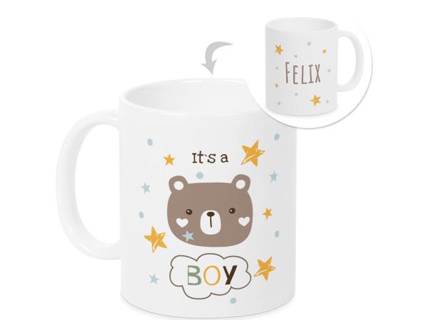 Tasse zur Geburts Its a Boy mit Namen und Sternen