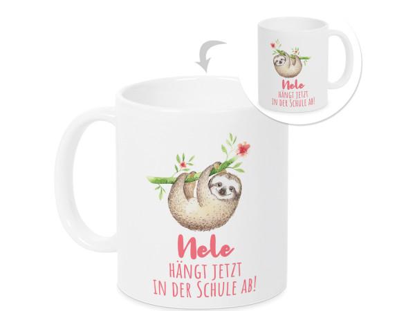 Personalisierte Tasse - Geschenk Einschulung Mädchen - Faultier