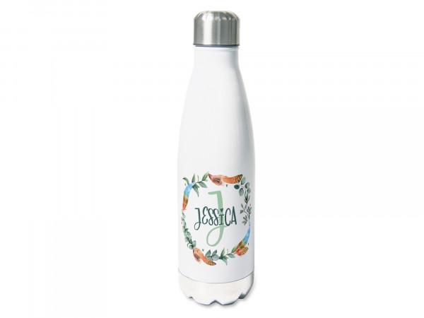 Trinkflasche mit Namen personalisiert, Eukalyptuskranz