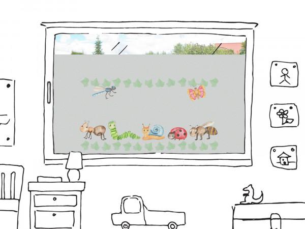 Fensterfolie Wiese mit Schmetterlingen und Käfern