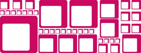 Wandtattoo Wandaufkleber hipper Wohnzimmer Style: Retro Set Vierecke Cubes 60er