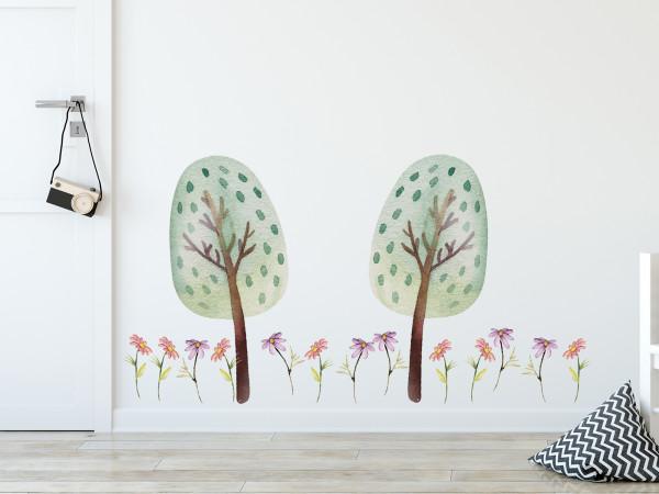 Wandtattoo Zwei Bäume mit Blumen
