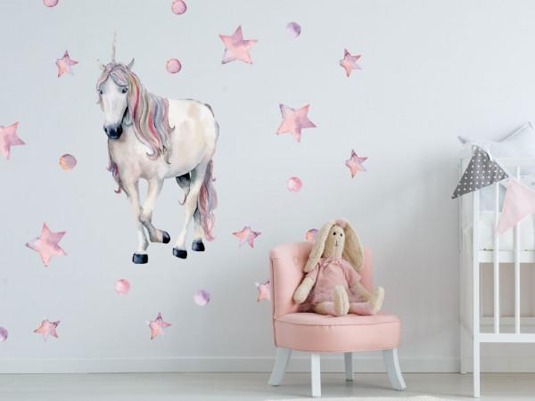 Wandtattoo Einhorn weiß rosa