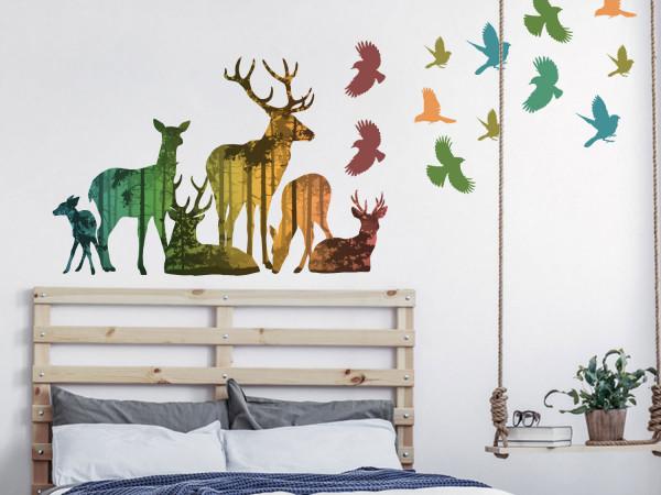 Wandtattoo Set Hirsch Familie im Wald
