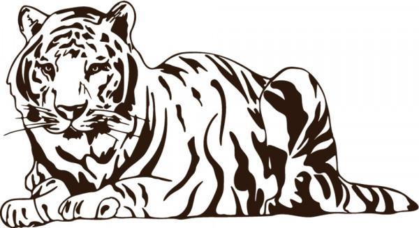 Wandtattoo Afrika Ruhender Tiger