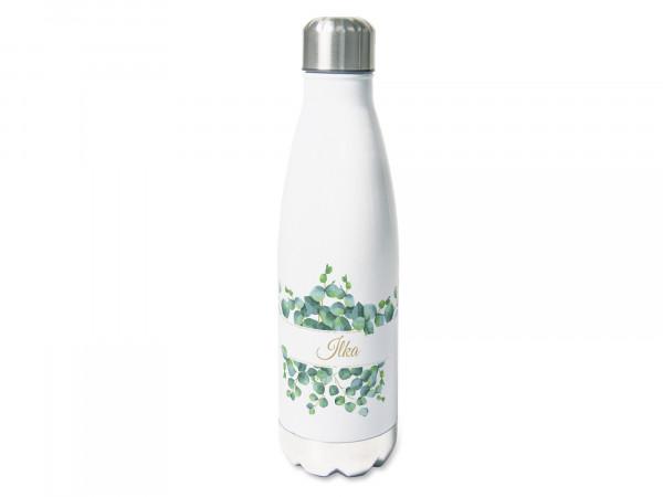Trinkflasche personalisiert mit Namen, Eukalyptus