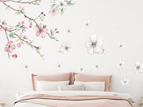 Wandtattoo Blumen Kirschblüten Aquarell weiss