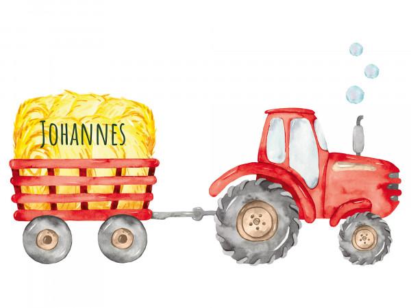 Wandtattoo Traktor mit Anhänger und Namen