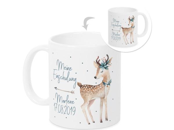 Personalisierte Tasse - Geschenk Einschulung Mädchen - Rehkitz