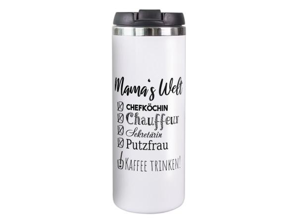 Thermobecher weiß Mamas Welt, Geschenk für Mama, Coffee to go Becher, Isolierter Thermo-Tasse, Weihnachten Geburtstag Muttertag