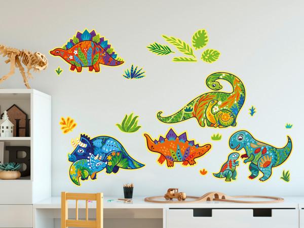 Wandtattoo Dinos als Mandala