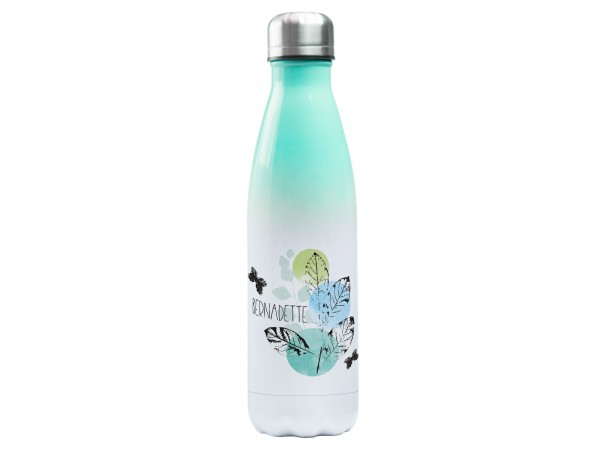 Trinkflasche mintgrün mit Wunschname - Blätterzweig