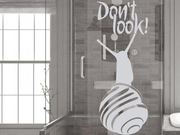 Fenstertattoo für Badezimmer Spruch mit Schnecke