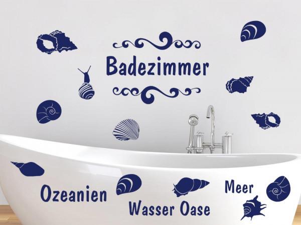 Wandtattoo Set Badezimmer Wasser Oase mit Muscheln und Schnecken