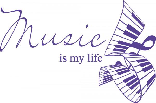 Wandtattoo Spruch Music is my life geschwungener Klaviertastatur
