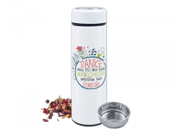 Teeflasche mit Namen personalisiert - Danke Spruch