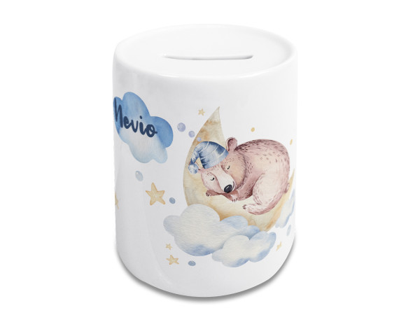 Spardose Kinder mit Name Junge, Geschenk personalisiert Taufe, Geburtstag Motiv Bär am Mond
