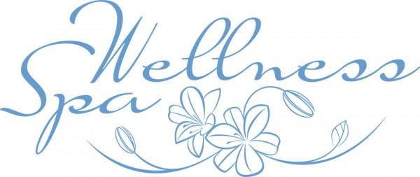 Wandtattoo Esoterik Schriftzug Wellness Spa mit Blumen für Bad