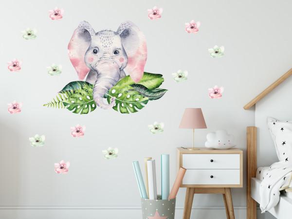 Wandtattoo Dschungel Elefant mit Blumen Afrika für Kinderzimmer