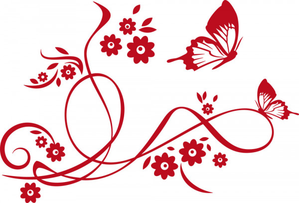 Wandtattoo Blume mit Schmetterling Blumenranke