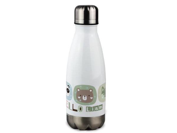Trinkflasche Kinder mit Namen personalisiert Hello Tiere