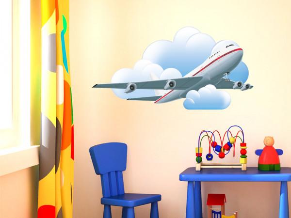 Wandsticker Fahrzeuge Aufkleber für Jungs Kinderzimmer Flugzeug Wolken fliegt